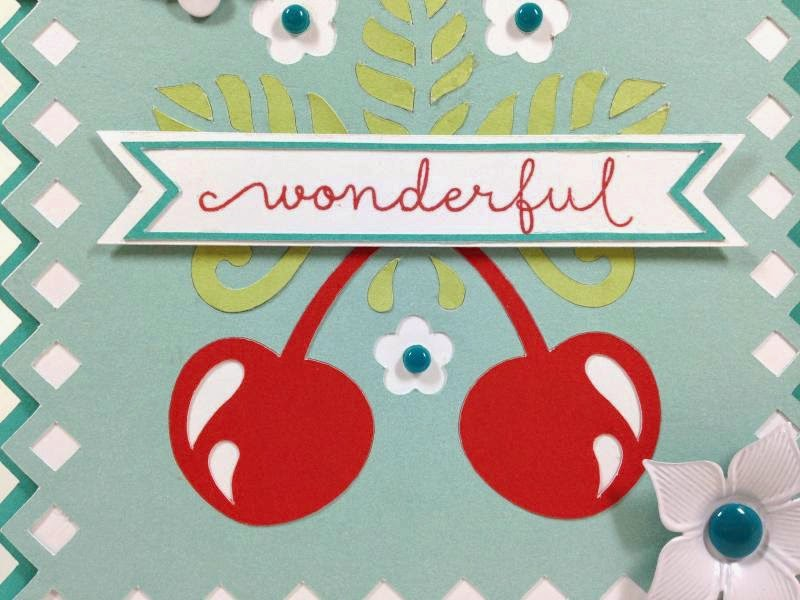 Cricut You Are Wonderful Cherry card closeup