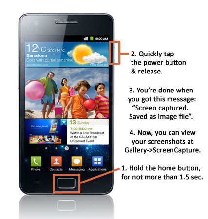 How to take a screenshot on Samsung Galaxy S2 Android 2.3