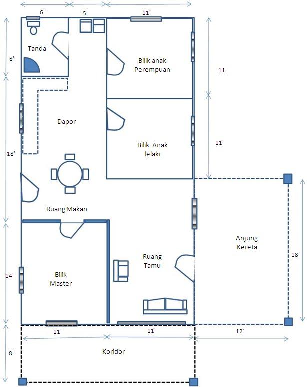 Plan tapak, keluasan rumah 22' X 40'