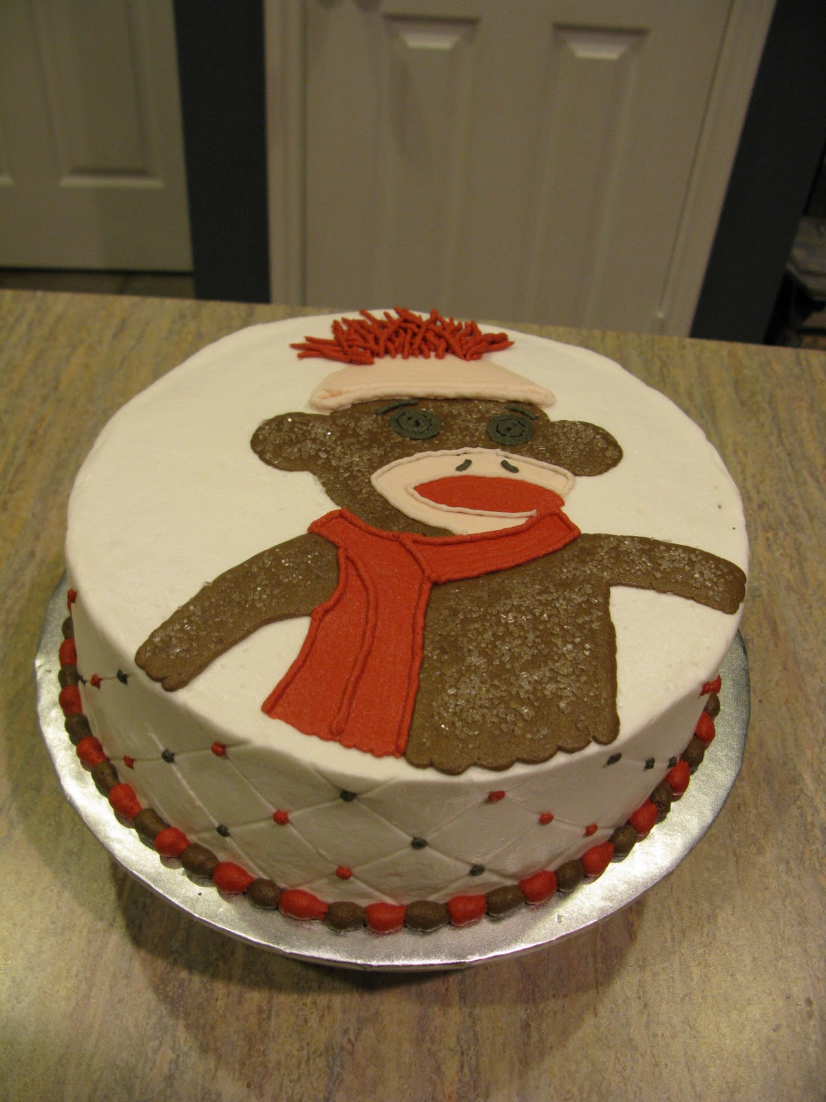 A counselor 39 s confections sock monkey themed baby shower cake - Baby shower cakes monkey theme ...