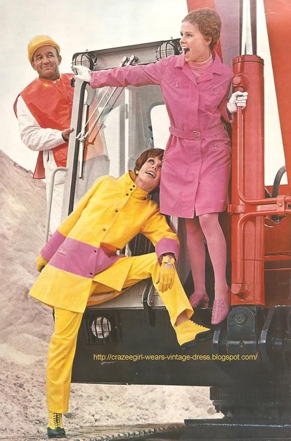 HAUSER SPORT raincoat 1967 pink yellow 60s 1960