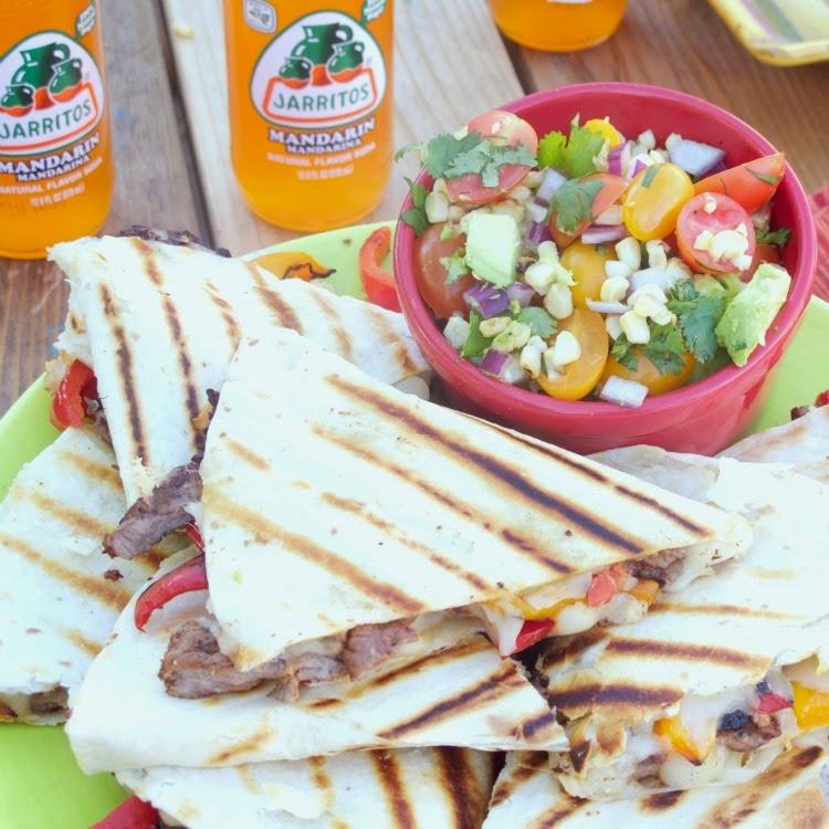 Carne Asada Fajita Quesadillas with Grilled Corn, Tomato and Avocado Salsa #CincodeMayo