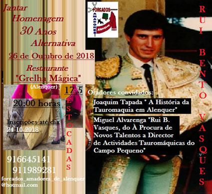ALENQUER (PORTUGAL) JANTAR HOMENAGEM A RUI BENTO VASQUES 30 ANOS DE ALTERNATIVA DE MATADOR..
