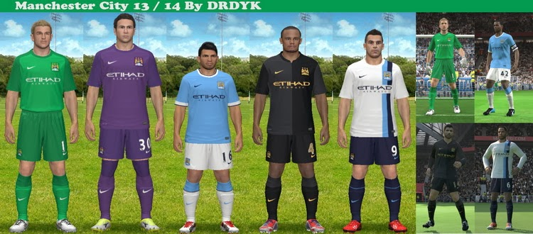 PES 2014 Manchester City 13/14 GDB Kits by DRDYK
