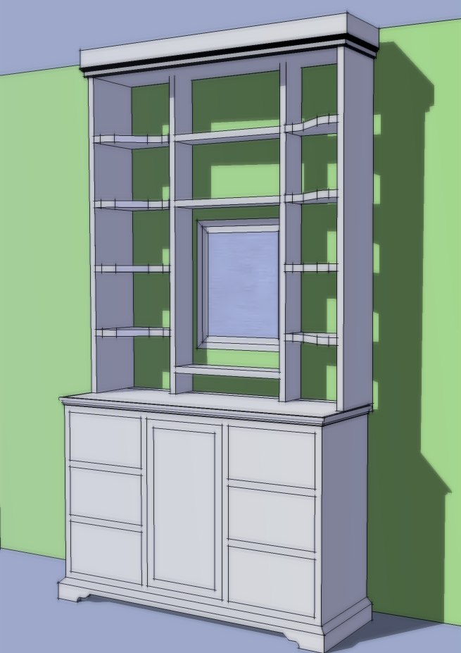 below: a design for some bedroom shelves