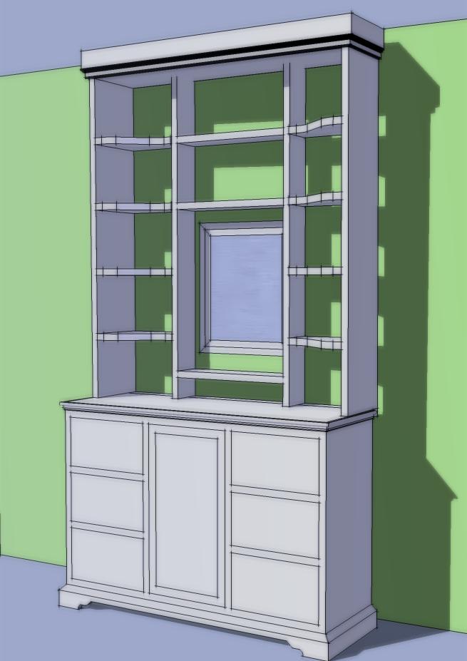 below: a design for some bedroom shelves