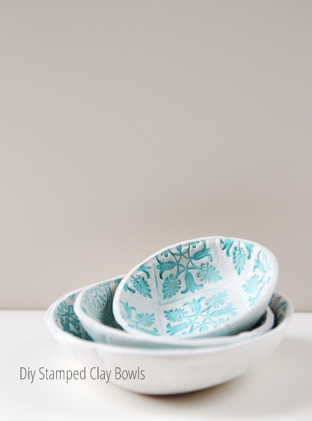 Diy Stamped Clay Bowls made using air dry clay