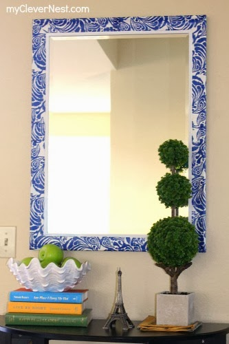 easy mod podge mirror using Target napkins! #clevernest #decoupage #diy #entryway