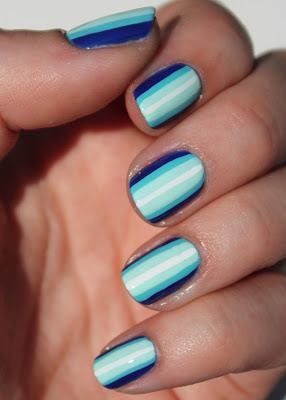 Blue ombre stripes nail art
