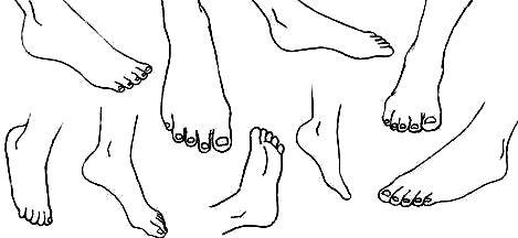 Dibujos de pies en diferentes posiciones para colorear