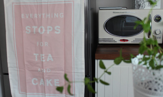 pastel pink tea towel everything stops for tea and cake
