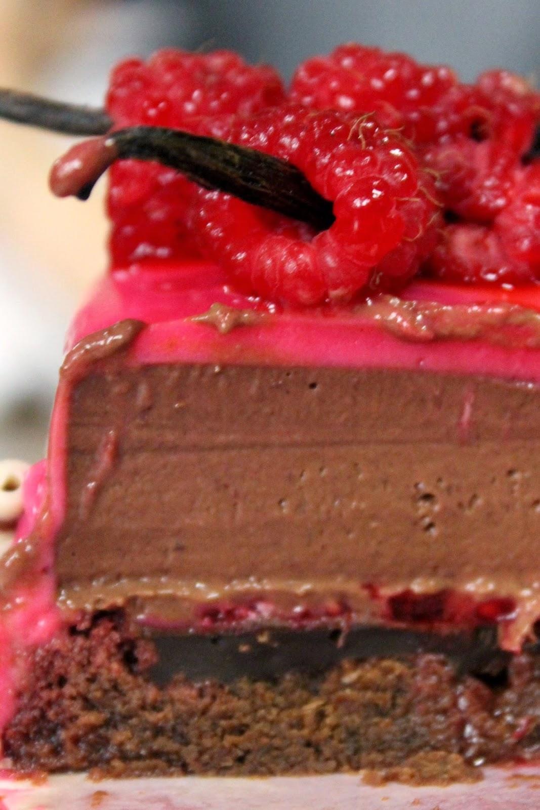 Exp riences gourmandes bavarois chocolat framboises for Glacage miroir framboise
