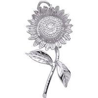 14K White Gold Sunflower Charm