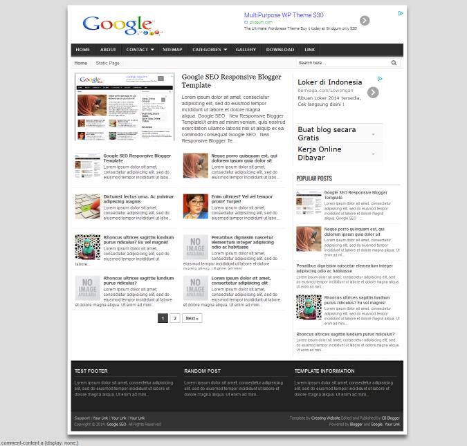 Google SEO Responsive Blogger Template