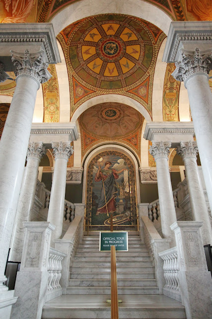 Elihu Vedder's Minerva of Peace mosaic at Library of Congress, Thomas Jefferson Building in Washington DC, USA