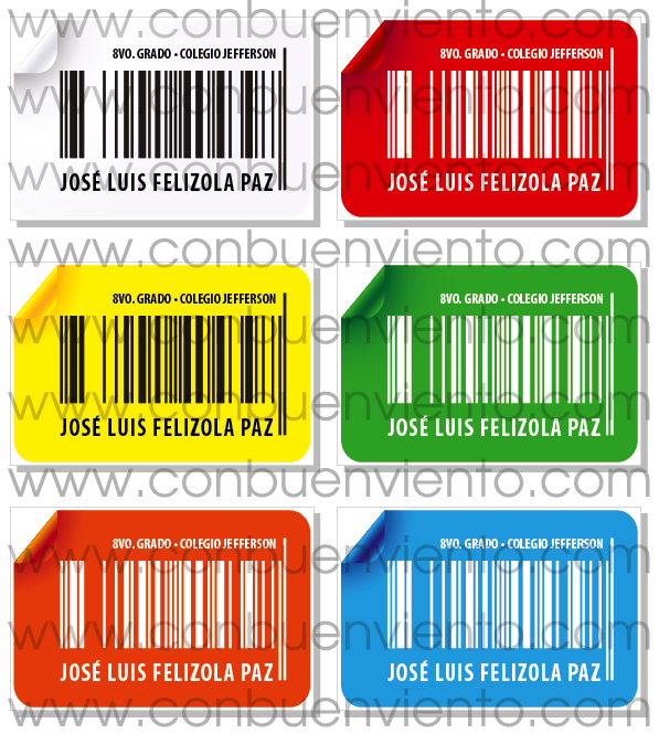 Etiquetas Autoadhesivas de Colores 18 Etiquetas Autoadhesivas