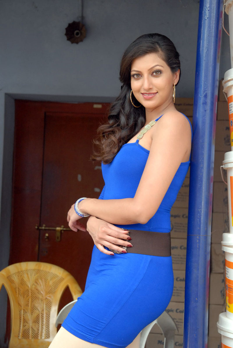 hamsa nandini in one shoulder blue tight dress for a photo shoot