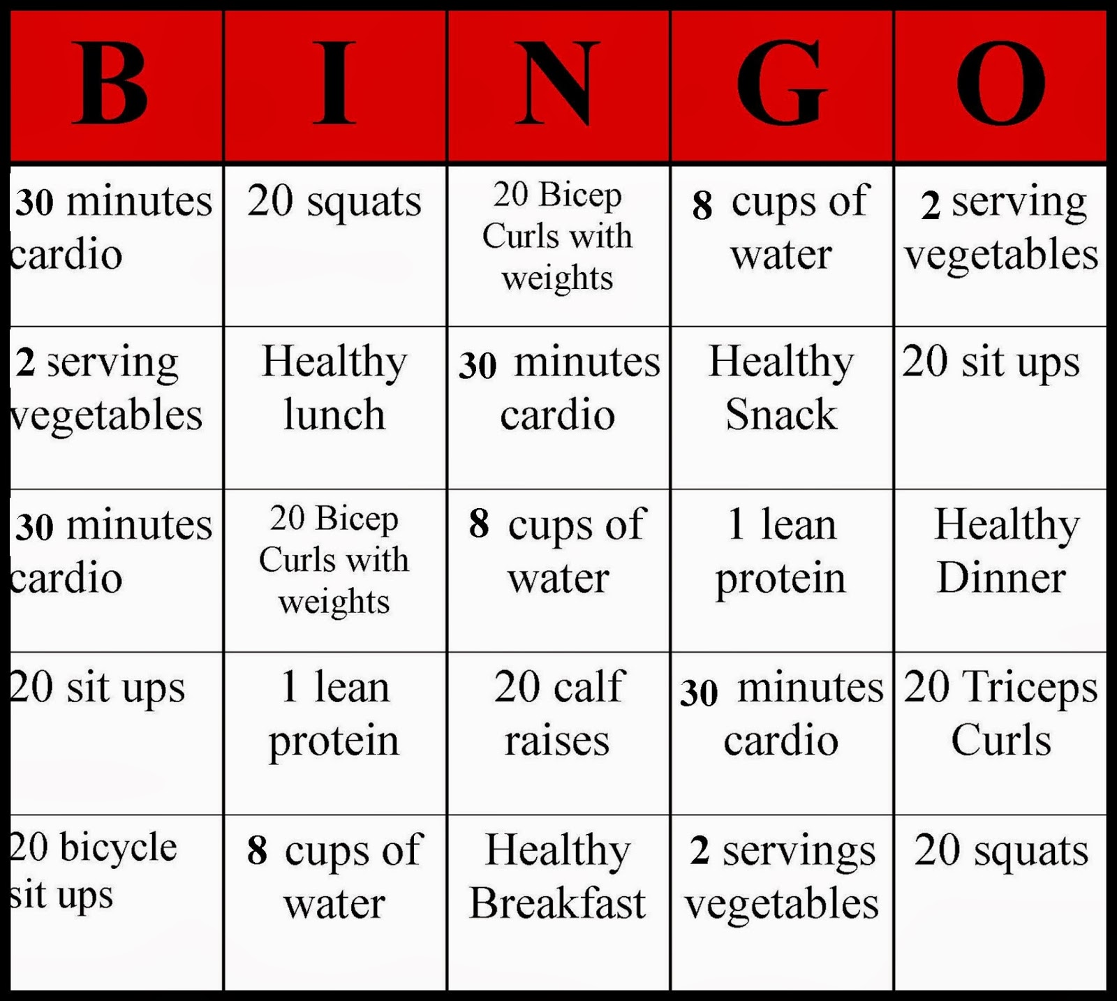 ... , fitness bingo, fitness, healthy, health, fun health, healthy living: muffinsvsmuffintop.blogspot.com/2013/10/weekly-workout-and...
