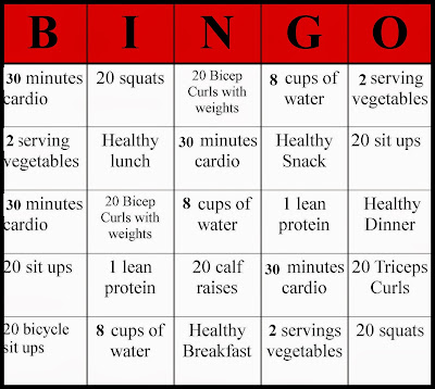 healthy bingo, fitness bingo, fitness, healthy, health, fun health, healthy living