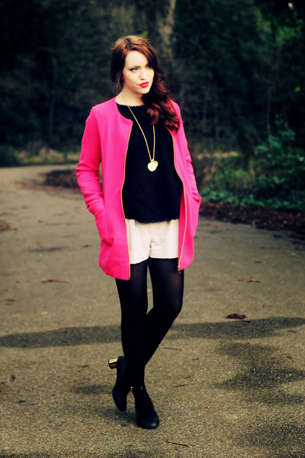 pink bright jacket coat fashion blogger