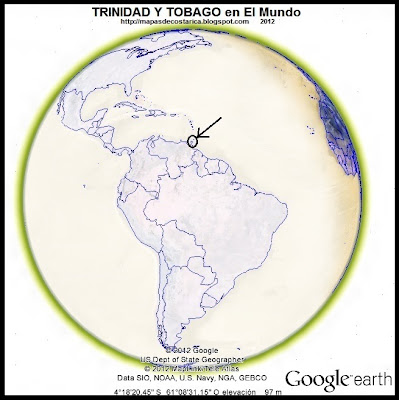 El Mundo. Ubicacin de TRINIDAD Y TOBAGO en El Mundo, Google Earth