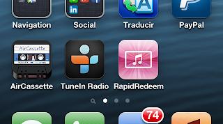 RapidRedeem instalado no iPhone com ícone rosa