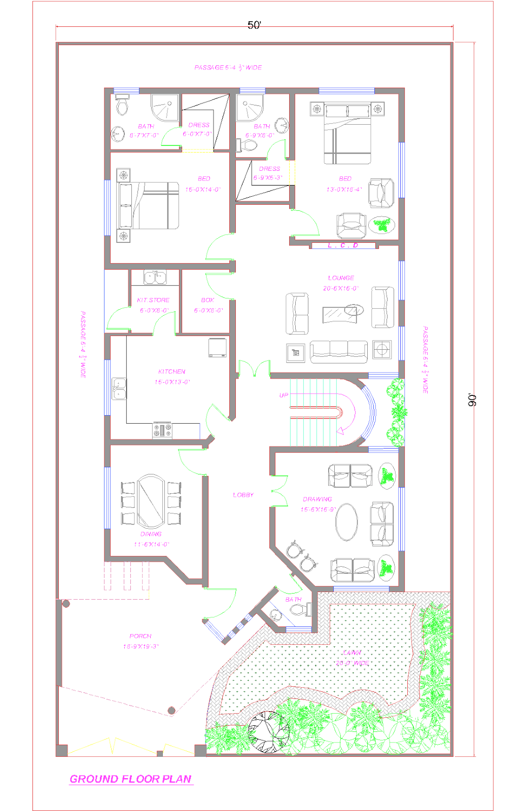 3d Front Floor Plan Of 1 Kanal House Lahore