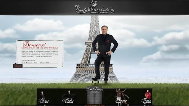 Page d'accueil du site internet de Carlo Ancelotti