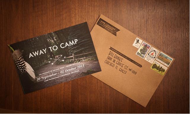 away to camp wedding invites - Camping Wedding Invitations
