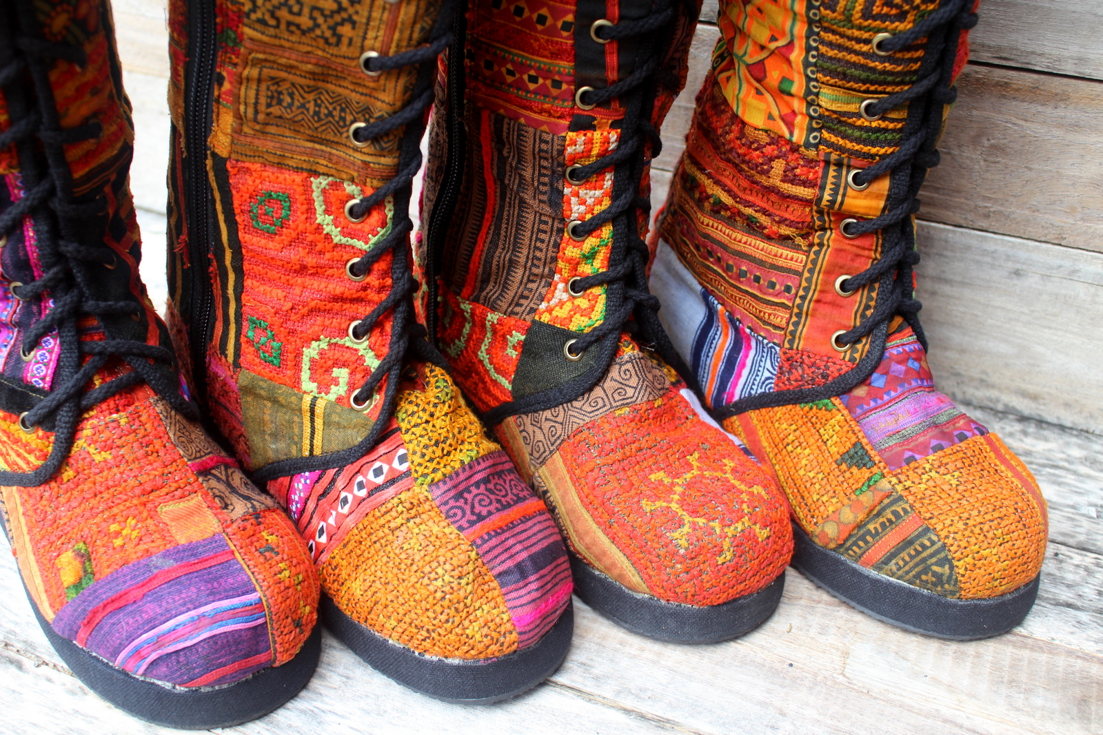 Vintage Hmong patchwork womens boots