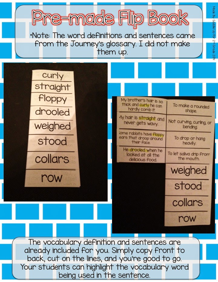 Journeys Vocabulary Flip Book: Unit 1 2nd Grade By Saddle Up For 2nd Grade