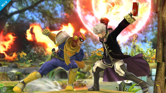 Image of Captain Falcon fighting male Robin in Super Smash Bros. for Wii U. The two characters are fighting in a green forest environment.