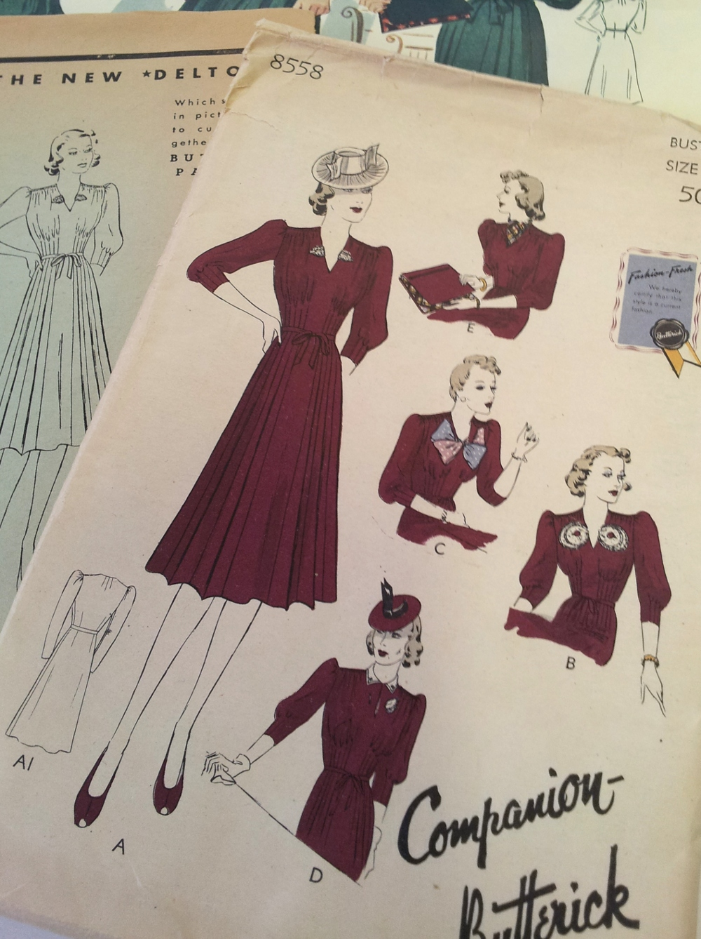 1940s Butterick home sewing pattern and VintageFollies