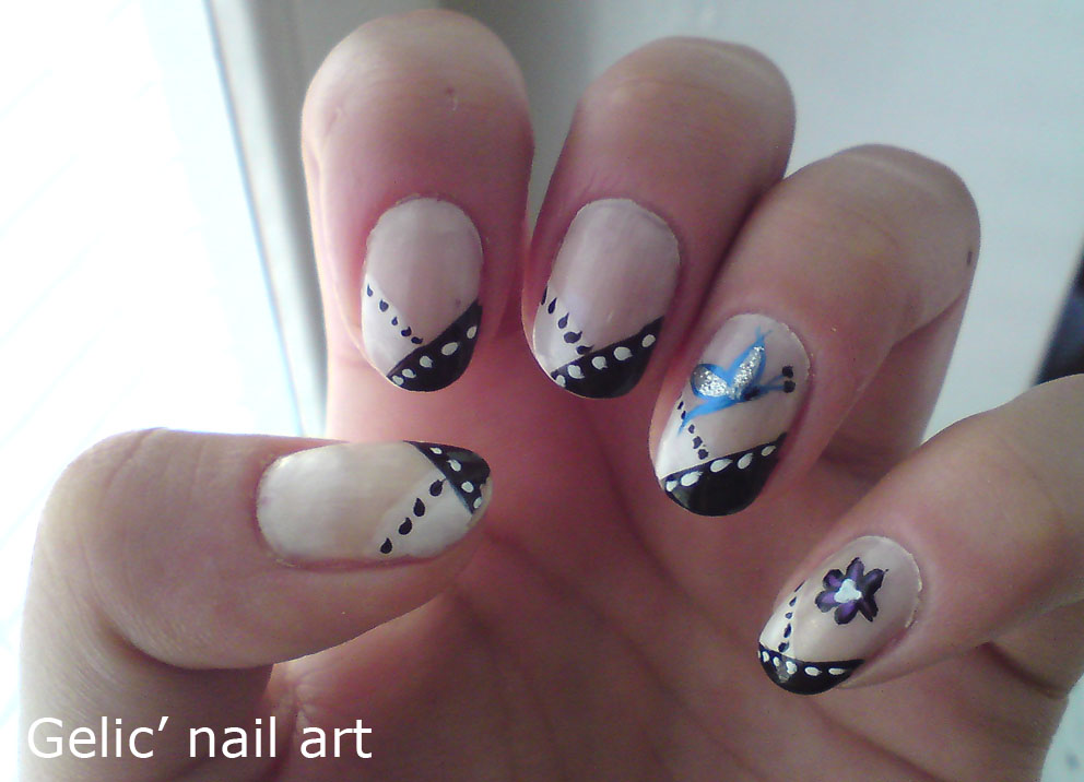 Gelic Nail Art Black And White Funky French With Dots And Accent