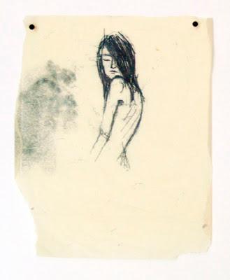 Laura Paoletti, Silenziosa, perché sono come assente, 2012, tecnica mista su carta, 23x25cm.