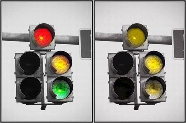Como ve un daltónico un semáforo