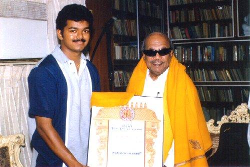 Vijay with DMK Leader Karunanithi