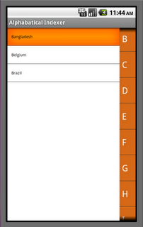 alphabetical indexer android