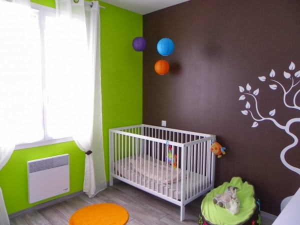 Dormitorios en verde y marr n para beb s dormitorios colores y estilos for Chambre orange et vert anis