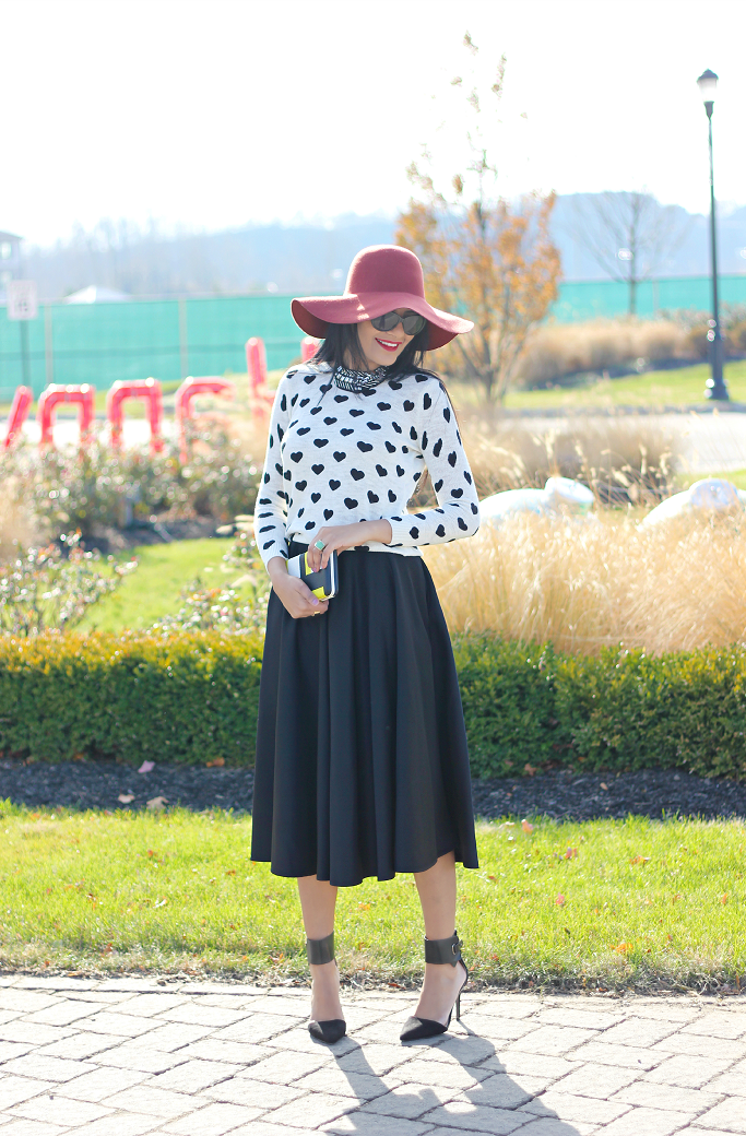 Heart print sweater, ASOS scuba midi skirt, ASOS black circle skirt, ASOS full midi skirt, Forever 21 Heart Sweater