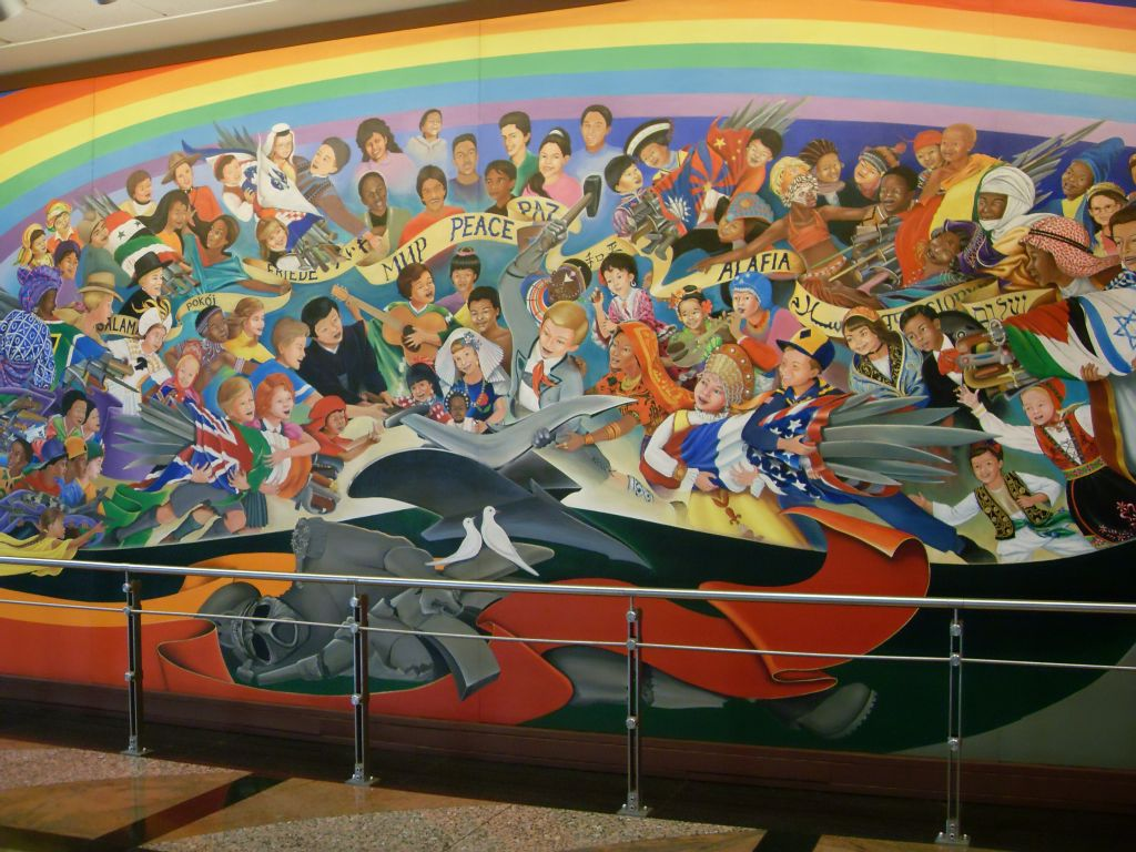 Race lies inside the coming new world order society for Denver international airport mural