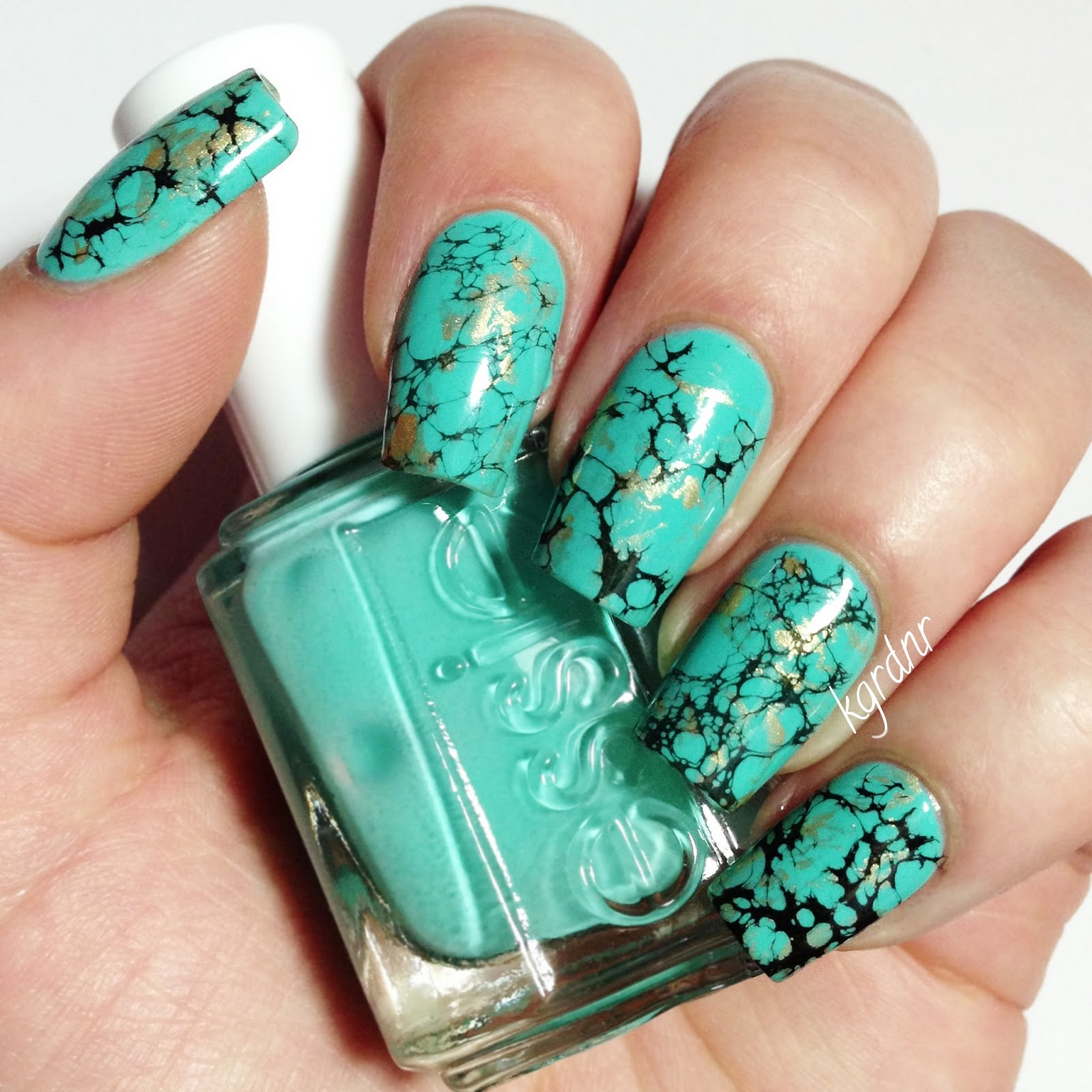 Lacquerstyle.com: Turquoise Stone Nails + Tutorial!