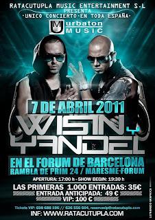 Carteles de Wisin & Yandel promocionando el concierto en Barcelona, España