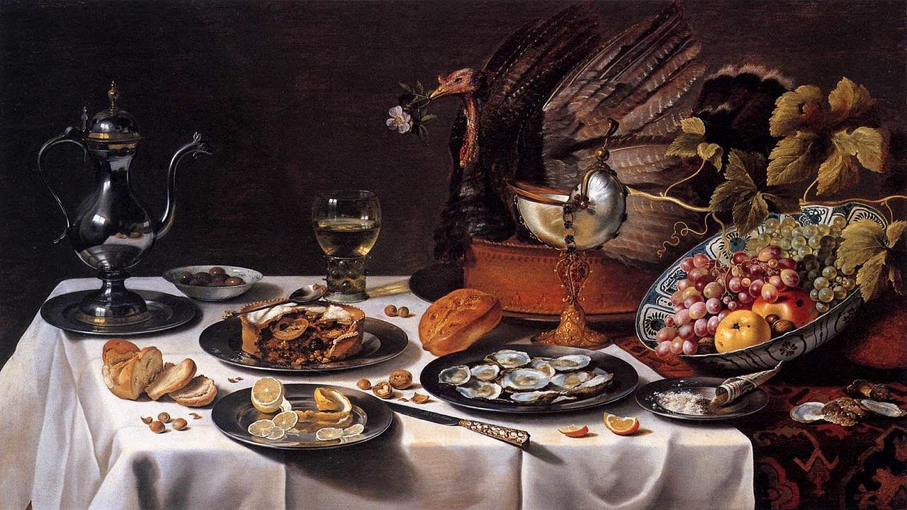Pieter Claesz - Nature morte avec tourte ( turkey pie),1627.