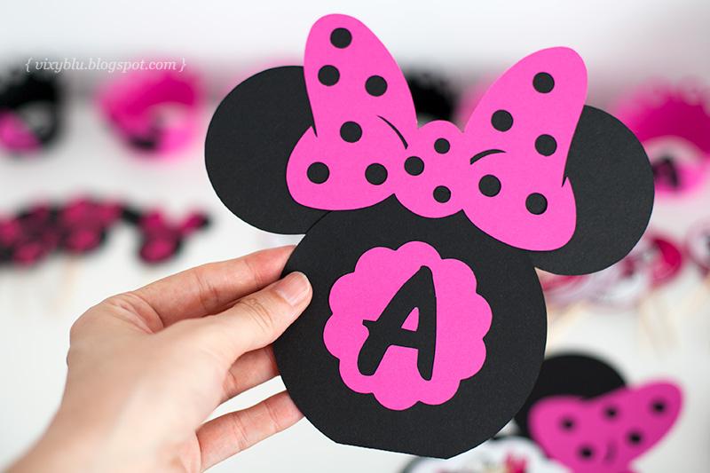 invitatie handmade Minnie, Minnie Mouse roz