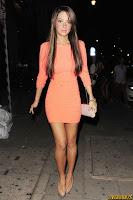 Tulisa Contostavlos seen with a group of friends for a night out at Jalouse in Mayfair, London 04.08.2013