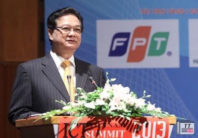 Thủ tướng Nguyễn Tấn Dũng phát biểu khai mạc Vietnam ICT Summit 2013. Ảnh: Phong Anh.