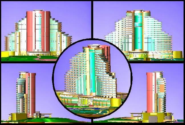 Plan d'un hôtel en 3d (format dwg)