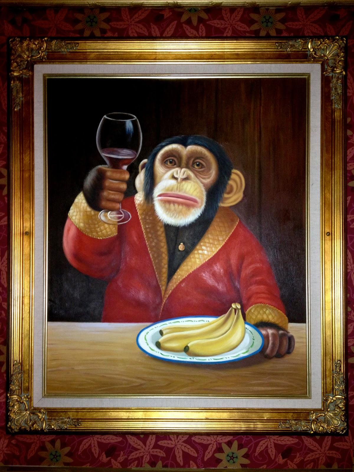 Monkey Drinking Wine Oil Painting