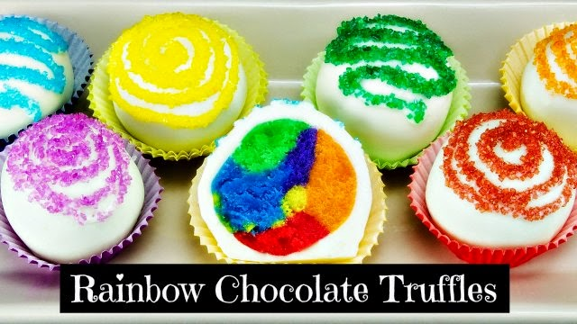 How to Make Rainbow Chocolate Truffles via geniusknight.blogspot.com holiday knight valentines day recipes
